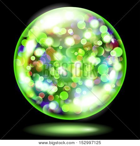 Sphere With Sparkles In Green Colors. Used Only On Dark Background