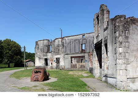 Oradour sur Glane, France - June23, 2016: Destroyed village of Oradour sur Glane in June 1944, France
