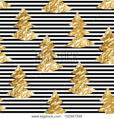 Seamless pattern with gold leaf textured spruces on the striped background.