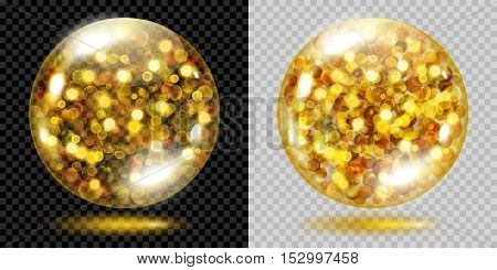 Two Transparent Spheres With Gold Sparkles. For Use On Dark And Light Background