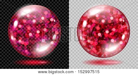 Two Transparent Spheres With Red Sparkles. For Use On Dark And Light Background
