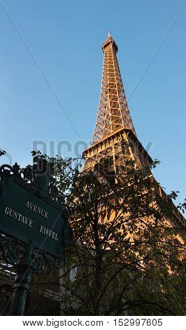 The Eiffel tower and avenue plateof Gustave Eiffel Paris France.