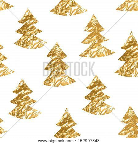 Seamless pattern with gold leaf textured spruces on the white background.