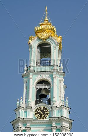 Sergiev Posad - August 10, 2015: View Of The Bell Tower Of The Clock And The Bells Of Holy Trinity S