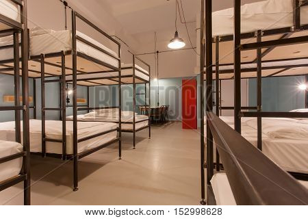 TBILISI, GEORGIA - OCT 8, 2016: Students bedroom interior with two levels beds with bright light for relaxing on 8 October, 2016. The annual number of tourists in Georgia reached 2300000 people