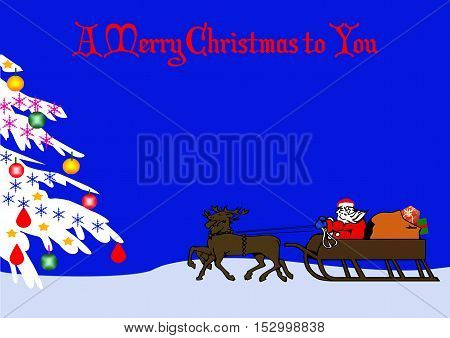 A Merry Christmas To You Greeting on a Santa Scene