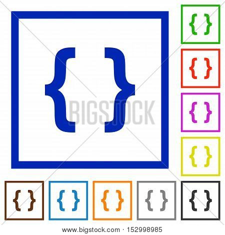 Programming code flat color icons in square frames