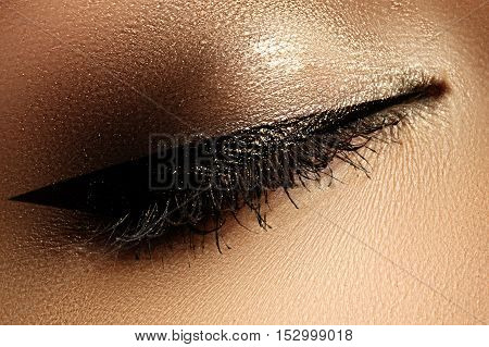 Cosmetics Make-up. Beautiful Female Eye With Sexy Black Liner