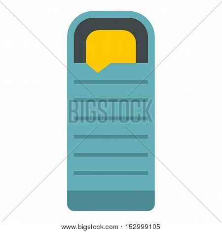 Blue sleeping bag icon. Flat illustration of sleeping bag vector icon for web design