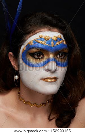 Painted Gold And Blue Mask