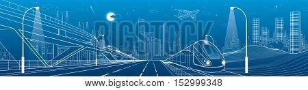 Automobile overpass, infrastructure and transportation panorama, airplane fly, train move on the bridge, business center, night city, towers and skyscrapers, urban scene, vector design art