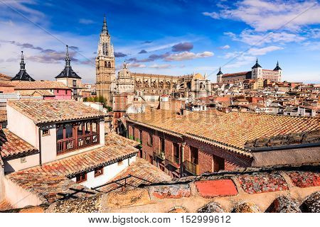 Toledo Spain. Catedral and Alcazar in ancient city on a hill over the Tagus River Castilla la Mancha medieval attraction of Espana.