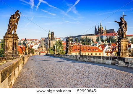 Prague Czech Republic. Charles Bridge with its statuette Lesser Town Bridge Tower and the tower of the Judith Bridge.