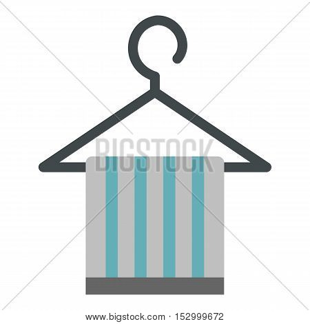Towel on hanger icon. Flat illustration of towel vector icon for web design