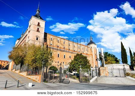 Toledo Spain. Alcazar view in ancient city on a hill over the Tagus River Castilla la Mancha medieval attraction of Espana.