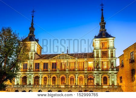 Toledo Spain. Evening light at Plaza del Ayuntamiento in front of the Cathedral of Saint Mary.