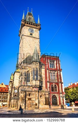 Prague Czech Republic. Old Town Hall built in 1388 Gohtic architecture style in Bohemia capital city.