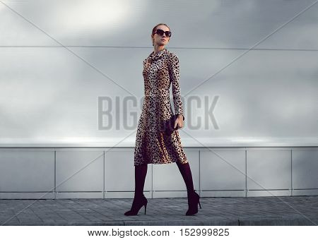 Elegant Woman Model In Leopard Dress Walking In Evening City, Street Fashion Concept