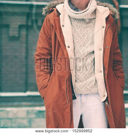 Fashion Male Look, Jacket And Sweater Closeup, Soft Vintage Colors