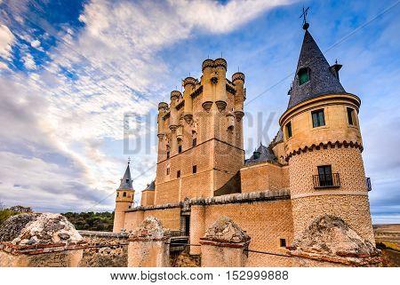 Segovia Spain. The famous Alcazar of Segovia rising out on a rocky crag built in 1120. Castilla y Leon.