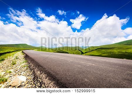 Bucegi Carpathian Mountains. Transbucegi road climbing Bucegi highlands from Sinaia Prahova Valley.