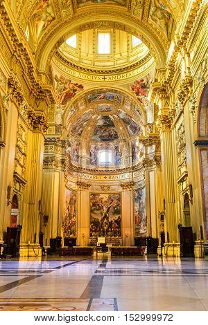 ROME ITALY - 26 September 2014: Church Sant'Andrea della Valle Piazza Vidoni built in Baroque style 1608 AD. Rome Italy.