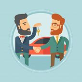 Hipster car salesman giving car key to a new owner on the background of car shop. Man buying car and poster