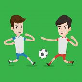 Постер, плакат: Football players in action during a champions league match Two male soccer players fighting over co