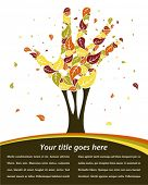 picture of fall trees  - Leaves falling from a hand shaped tree vector - JPG
