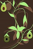 picture of avow  - Abstract vector illustration with avocado on a brown background - JPG
