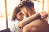Sexy Young Couple In Kitchen poster