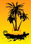 Remote deserted island illustration that is an ideal holiday destination poster