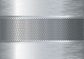 pic of metal grate  - Silver metal abstract background with punched holes and brushed surface - JPG