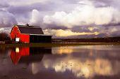 stock photo of dairy barn  - Flooded red barn - JPG