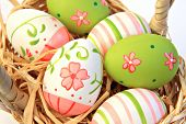 image of easter basket eggs  - Hand painted easter eggs - JPG