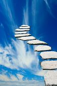 stock photo of stairway to heaven  - Stone pathway leading to heaven - JPG