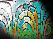 stock photo of stained glass  - Sun shining through a stained glass window - JPG