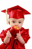 foto of nack  - Little smart baby eating an red apple - JPG