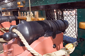 stock photo of uss constitution  - close view of a canon of the Old Ironsides or USS Constitution historic civil war ship Boston Massachusetts - JPG