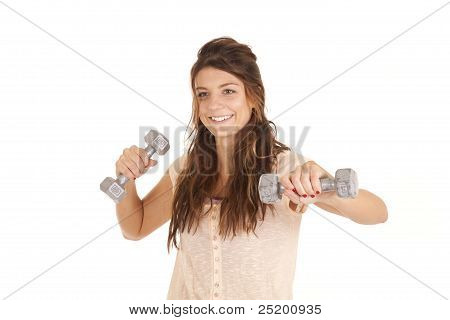 Woman Big Smile Weights