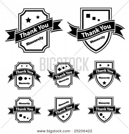vector vintage thank you black and white labels