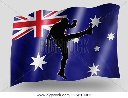 Country Flag Sport Icon Silhouette Australia Rugby High Kicker