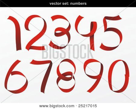 Vector red ribbon formed the number