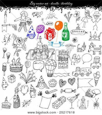 doodles -big vector set - birthday