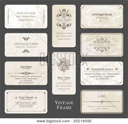 conjunto vintage cartão