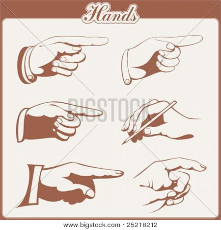 vector set: hands - 6 items