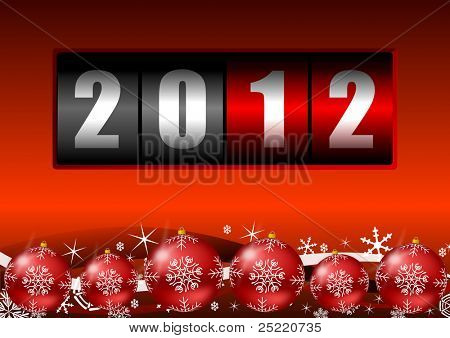 2012 year counter with christmas balls