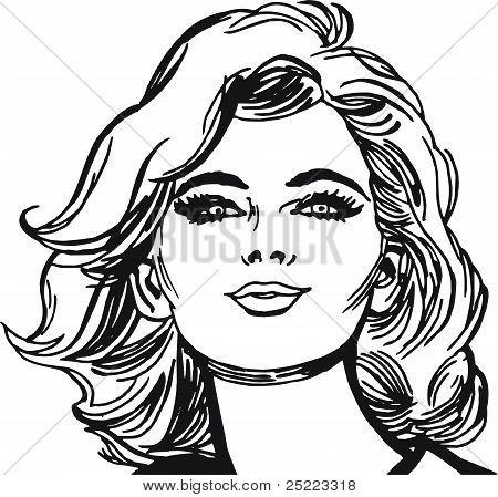 Isolated Illustration face of a beautiful woman