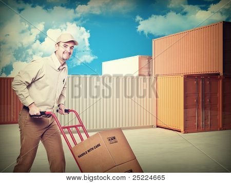 delivery man container and blue sky with clouds background