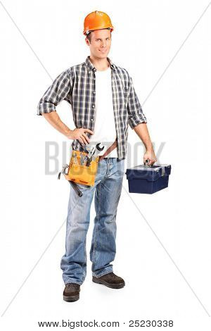 Full length portrait of a confident and smiling manual worker holding a wrench and a toolbox isolated on white background